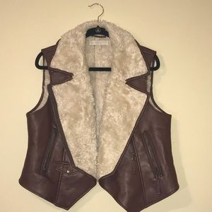 Brown Leather Vest w/ Fur